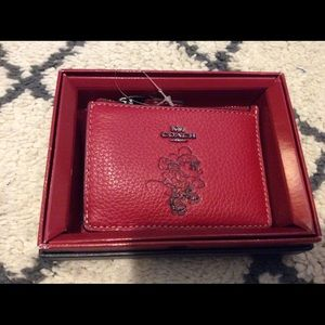 Coach + Disney colab leather card holder